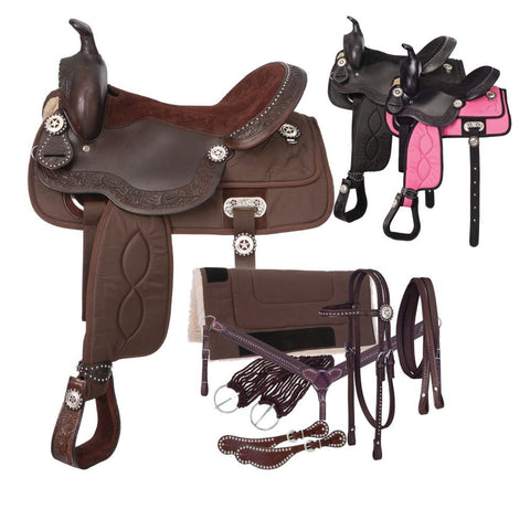 Eclipse by Tough 1 Pro Trail Saddle 7 Piece Package - Bronco Western Supply Co.