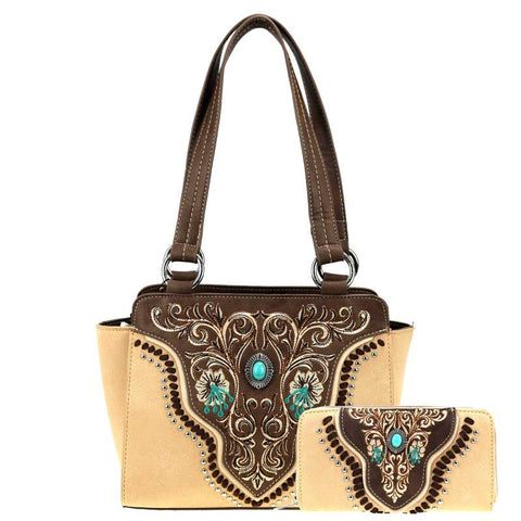 American Bling Embroidered Collectio Tote and Wallet Set - Brown - Bronco Western Supply Co.