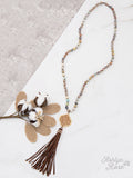 Going Baroque Beaded Necklace with Leather Tassel - Bronco Western Supply Co.