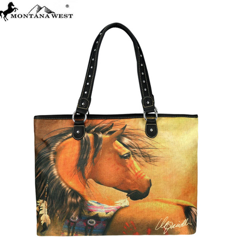 Montana West Horse Art Canvas Tote Bag/ Purse -Laurie Prindle Collection - Bronco Western Supply Co.