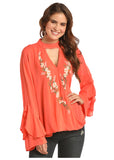 Country Concert Cascade Ruffle Sleeve Top - Bronco Western Supply Co.