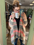 Let's Get Coffee Coral High-Low Cardigan - Bronco Western Supply Co.