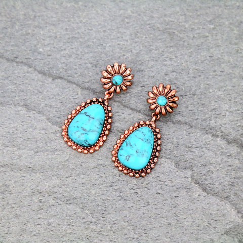 Western Copper Flower with Dangle Turquoise Stone Stud Earrings - Bronco Western Supply Co.