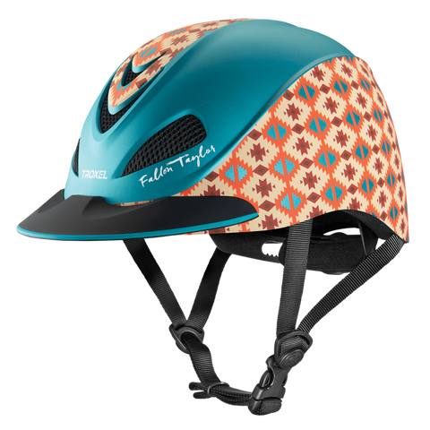 Fallon Taylor Teal Aztec Helmet - Bronco Western Supply Co.