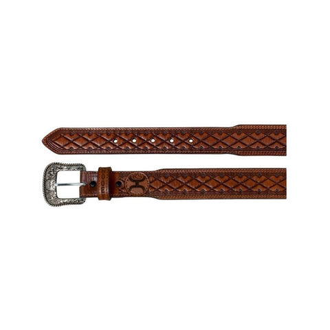 Hooey Western Belt Men's Embossed Diamond Patch Light Chestnut - Bronco Western Supply Co.