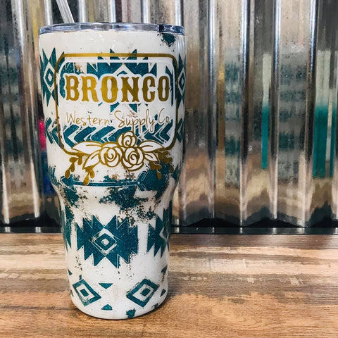Distressed Aztec Bronco Western Supply Tumbler - Bronco Western Supply Co.