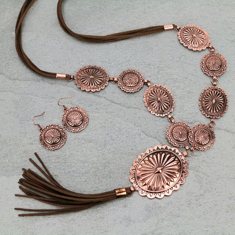 Tassel Concho Necklace Set - Bronco Western Supply Co.
