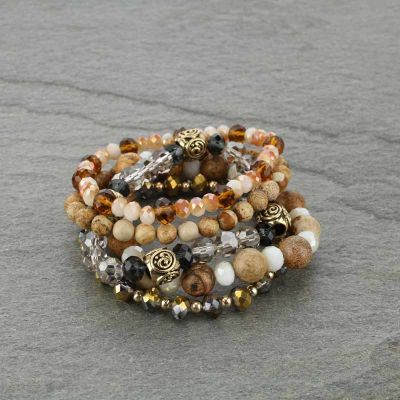 On Stage Glass Bead Stackable Bracelet - Brown - Bronco Western Supply Co.