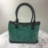Trinity Ranch Tooled Design Collection Tote Purse Turquoise and Black - Bronco Western Supply Co.