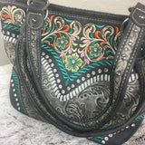 Montana West Embroidered Collection Purse Gray Embossed - Bronco Western Supply Co.
