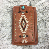 Montana West Embroidered Collection Phone Wallet/Crossbody Purse Brown - Bronco Western Supply Co.