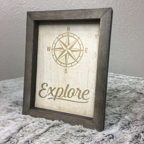 Framed Gold Explore with Compass Box Sign - Bronco Western Supply Co.