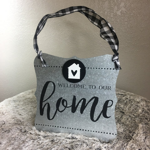 Tin Welcome To Our Home Sign with Black and White Plaid Ribbon - Bronco Western Supply Co.