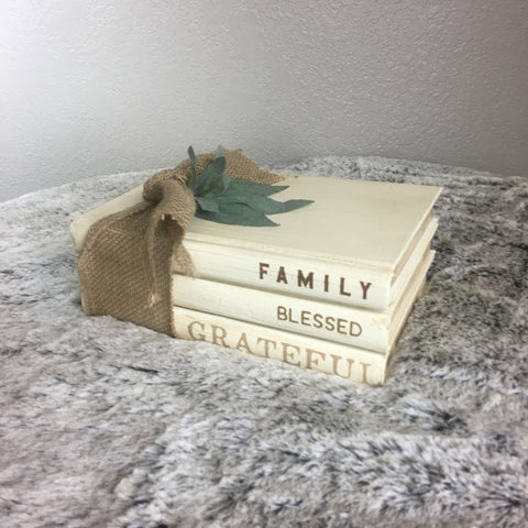 Family Blessed Grateful Book Stack with Burlap Tie and Greenery - Bronco Western Supply Co.