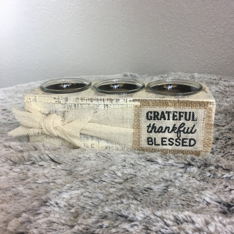 Grateful Thankful Blessed Candle Box - Bronco Western Supply Co.