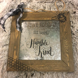 "Wood Framed Tin Sign ""Hive Rules: Bee Happy Humble and Kind"" - Bronco Western Supply Co."