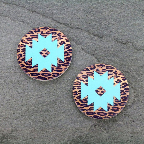 Ceramic Car Coasters - Leopard Mint Aztec - Bronco Western Supply Co.