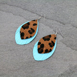 Western Leopard Leather Turquoise Earrings - Bronco Western Supply Co.
