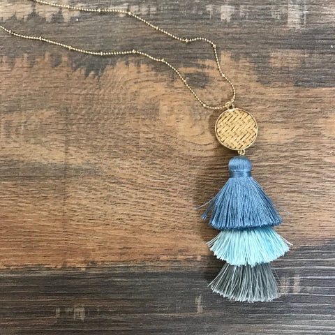 Rolling Waves Layered Tassel Pendant Necklace Set - Bronco Western Supply Co.