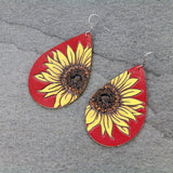 Red Leather Sunflower Teardrop Earrings - Bronco Western Supply Co.