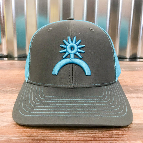 Spur Up Hat - Charcoal/Neon Blue - Bronco Western Supply Co.