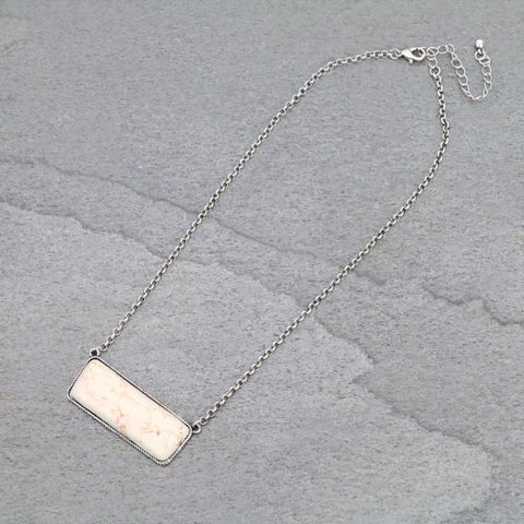 White Stone Bar Necklace - Bronco Western Supply Co.