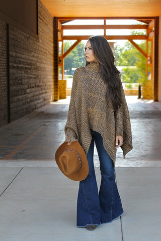 Brown Turtleneck Poncho Sweater