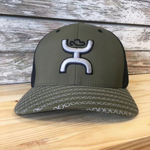 Hooey hat with olive green face and bill. Silver logo on the face and silver logo pattern on bill