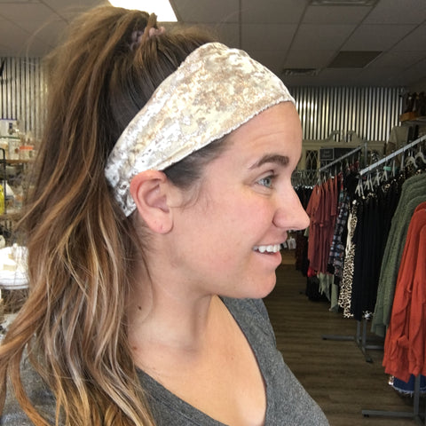 Boho Rodeo Headband- Rose Gold Splashed Velvet