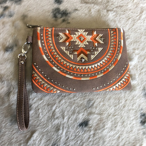 Montana West Aztec Collection Embroidered Clutch