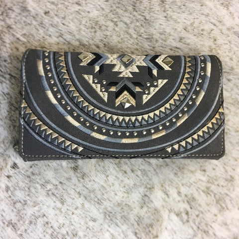 Montana West Aztec Collection Embroidered Wallet