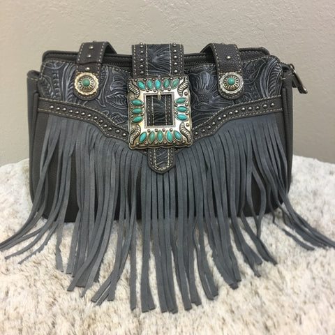 Trinity Ranch Leather Fringe Design Purse