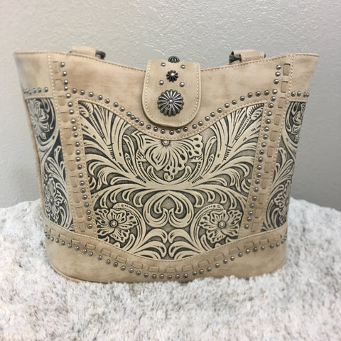 Trinity Ranch Tooled Leather Collection Tote Purse