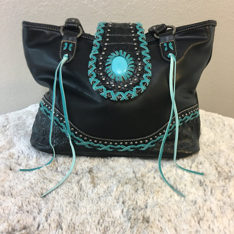 Trinity Ranch Tooled Leather Collection Black and Teal Tote Purse