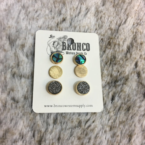 Druzy Stone and Mother of Pearl Stud Earrings Set - Bronco Western Supply Co.