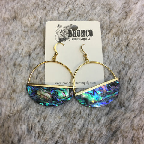 Sunset Over Mother of Pearl Half Hoop Drop Earring - Bronco Western Supply Co.