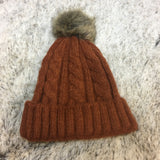 Wool Cable Knit Removable Fur Pom Hat - Bronco Western Supply Co.