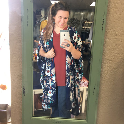 Wide Open Spaces Navy Floral Kimono