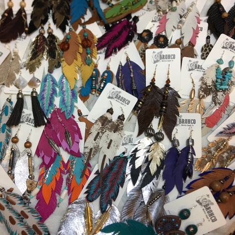 Leather Feather Earrings (Various Colors) - Bronco Western Supply Co.