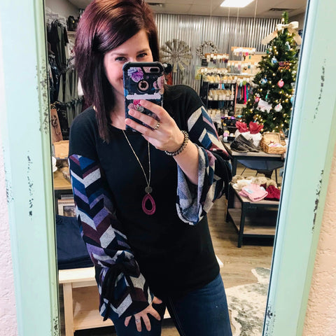 Don't Go Breaking My Heart Chevron Sleeve Top