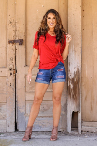Appaloosa Distressed Jean Shorts with Red Plaid Patches