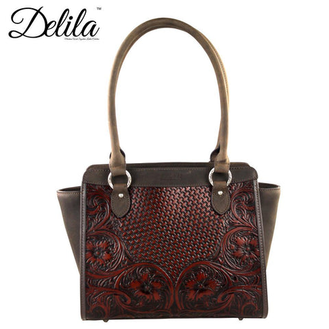 Delila 100% Genuine Leather Tooled Collection Coffee - Bronco Western Supply Co.