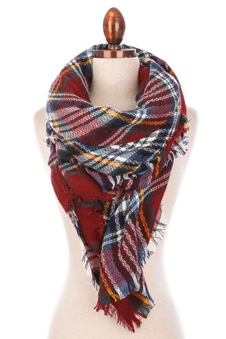 Winter Wind Oversized Plaid Blanket Scarf - Bronco Western Supply Co.