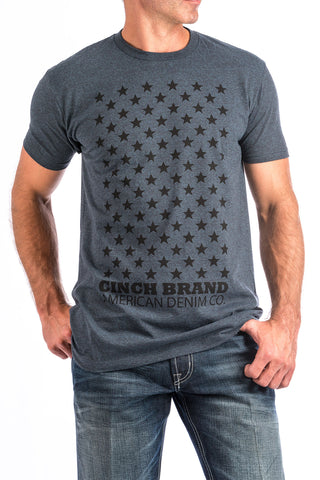 Men's Heathered Navy Stars Crew Neck Tee