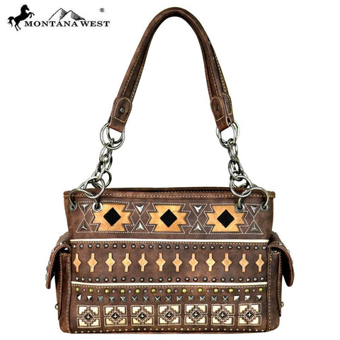 Montana West Aztec Collection Satchel - Coffee - Bronco Western Supply Co.