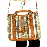 Montana West Buckle Collection Concealed Carry Satchel/Crossbody Purse - Brown - Bronco Western Supply Co.