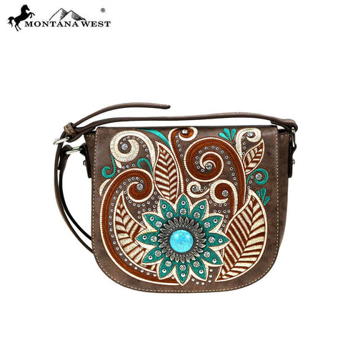 Montana West Embroidered Collection Crossbody Purse Coffee - Bronco Western Supply Co.