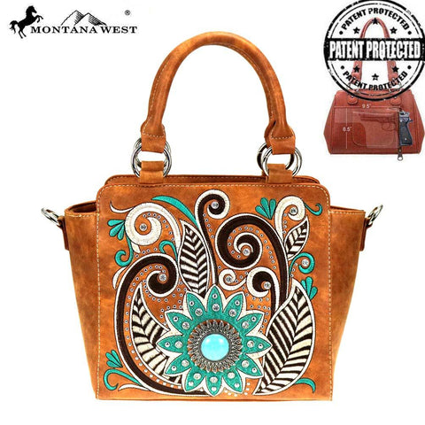 Montana West Embroidered Collection Concealed Carry Satchel/Crossbody Purse - Bronco Western Supply Co.