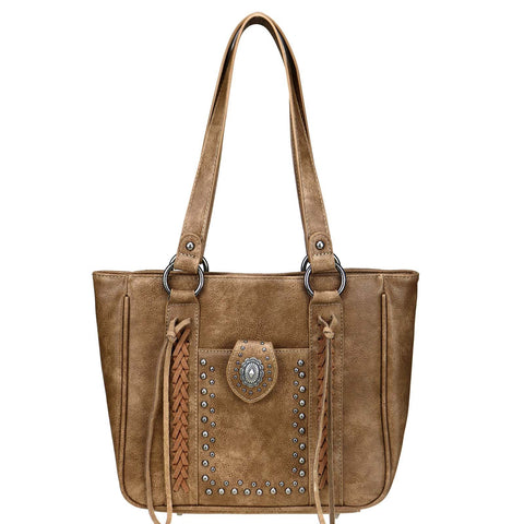 Montana West Concho Collection Concealed Carry Tote Bag Purse - Brown - Bronco Western Supply Co.