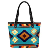 Montana West Aztec Canvas Tote Bag Teal - Bronco Western Supply Co.